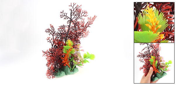 Fish Tank Decorative Plastic Grass Underwater Plant Burgundy Green 9