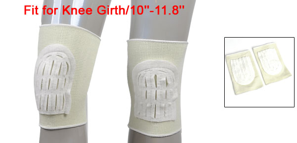 Sports Off White Stretchy Knee Padded Support Protector Pair
