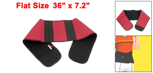 Unisex Red Black Neoprene Hook Loop Fastener Waist Support Shield