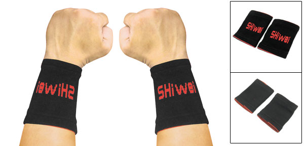 Pair Red Letter Prints Elastic Band Wrist Support Protector Black