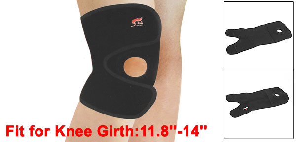 Sporting Protection Detachable Fastener Stretchy Knee Support Kneepad Black