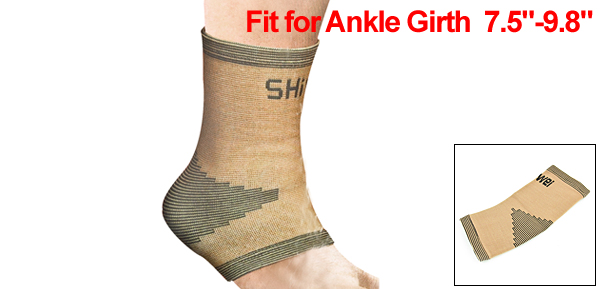 Beige Black Striped Stretchy Ankle Support Protective Wrapper Brace