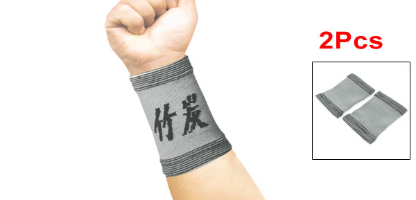 2 Pcs Black Gray Elastic Band Wrist Support Protector for Woman Man