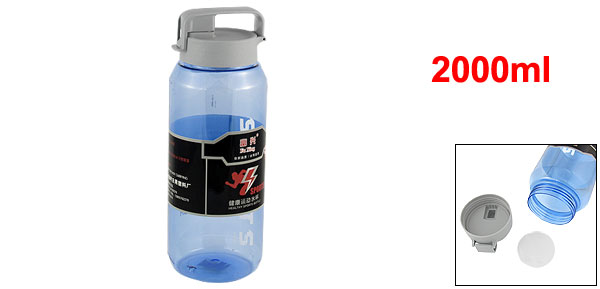 Clear Blue Body Gray Leak Proof Lid Water Drink Bottle Cup 3000ml w Strainer
