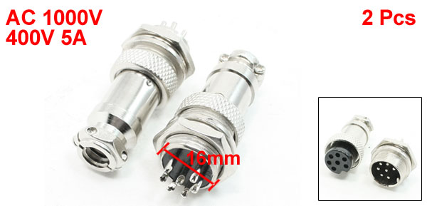 16mm Panel Mounting 7 Poles Male Female Metal Aviation Connector 2Pcs