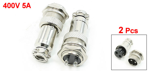 Panel Mounting 16mm Dia Thread 2Poles Metal Aviation Connectors Plugs 2 Pcs