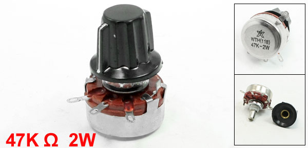 WTH(118) 47K Ohm 10% Tolerance 2W Rotary Carbon Film Potentiometer w Knobs