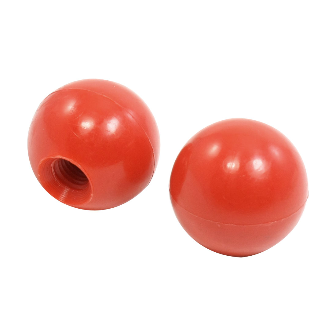 Machine-Tool-Handle-10mm-Thread-34mm-Diameter-Red-Plastic-Ball-Knobs-2-Pieces