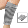 Pair Gray Black Stripe Pattern Elastic Crus Calf Band Sports Support