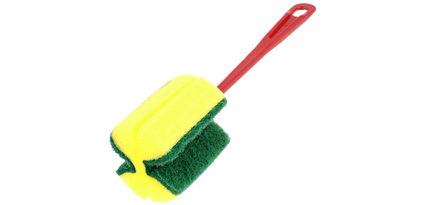 Kichen Plastic Grip Glass Cup Washing Sponge Brush Yellow Green