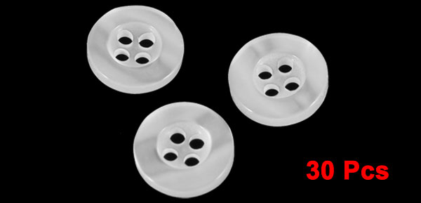 30 PCS White Plastic Round Button for Clothes Sewing
