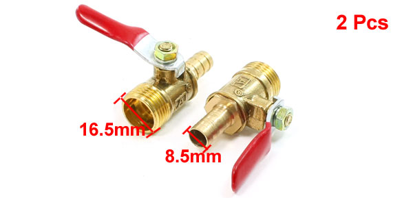 3/8PT Male Thread to 8.5mm Barb Fitting Lever Handle Ball Valve Pair