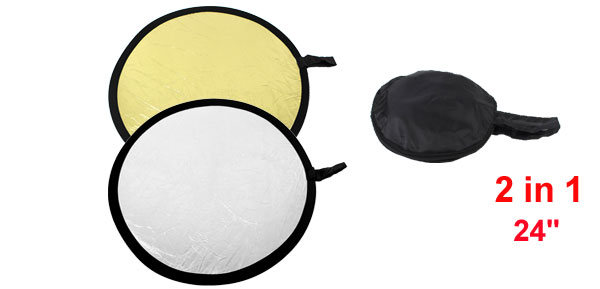 60cm Round Shape Collapsible 2 in 1 Gold Silver Disc Light Reflector