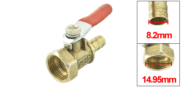 3/8 PT Female Thread to 8.2mm Hose Tail Connector Ball Valve