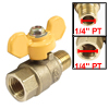 "1/4"" Female PT to 1/4\"" Male NPT Yellow Tee Handle 2 Way Full Port Ball Valve"