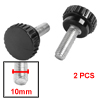 2 Pcs 10mm Male Thread Diameter Screw On Type Knurled Knobs Black