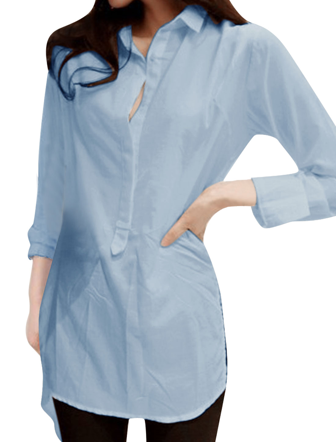 Woman Point Collar Long Sleeve Split Back Tied Detail Tunic...