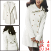 Women White S Notched Lapel Double Breasted Slim F...