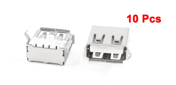 10 Pcs USB Female Type A 4-Pin DIP Right Angle Plug Jack Socket Connector