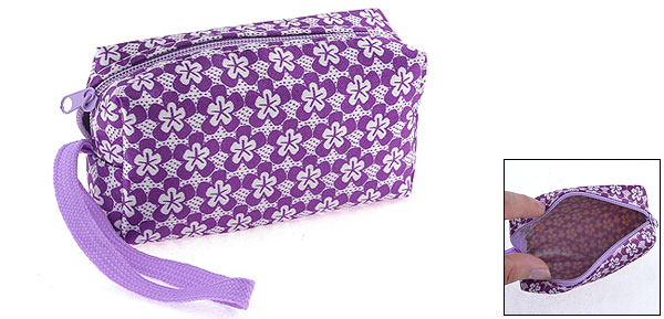 Woman Purple White Flowers Print Zippered Key Holder Purse Wallet w Strap