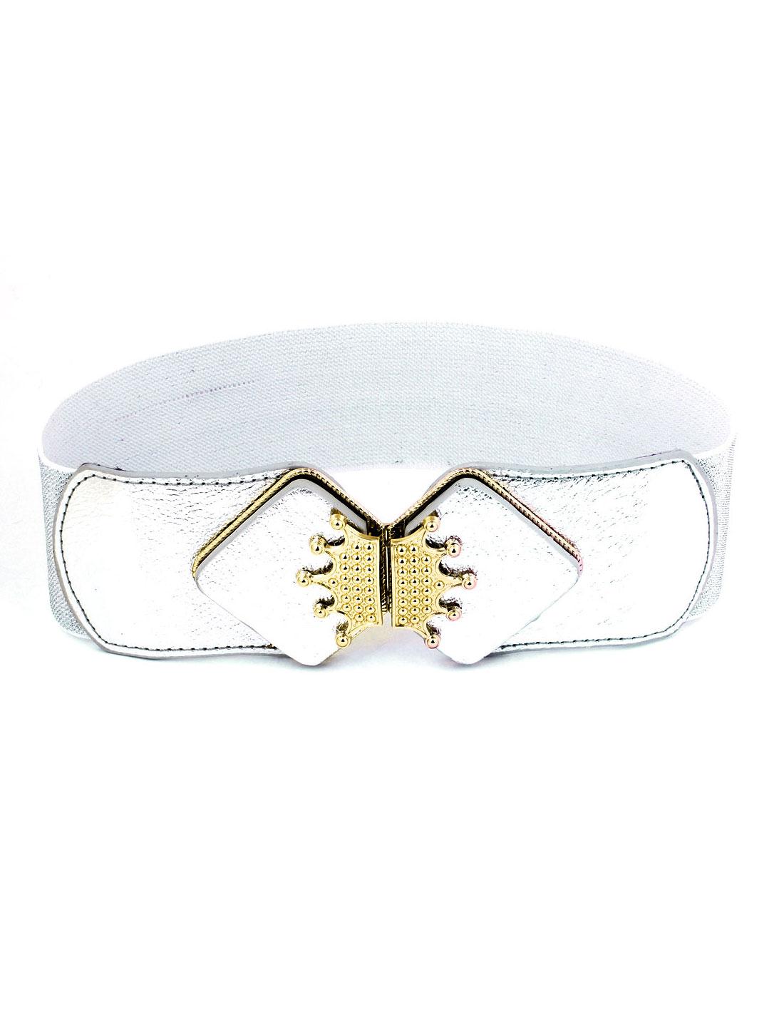 6cm Wide Metal Crown Detail Elastic Fabric Cinch Belt for Women