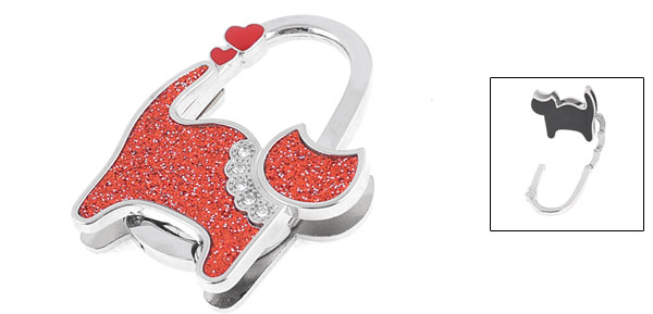 Glittery Rhinestones Inlaid Silver Tone Red Cat Design Handbag Hook Hanger