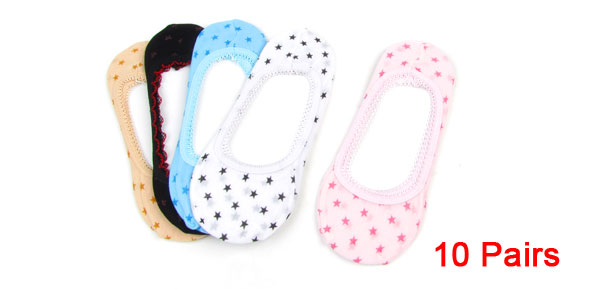 10 Pairs Assorted Color Stars Pattern Low Cut Elastic Cuff Boat Socks for Women