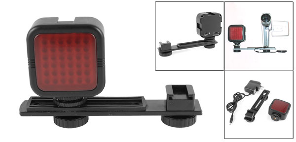 US Plug AC 100-240V Infrared 36 Red LED Night Vision Video Light w Camera Tripod Mount Bracket Black