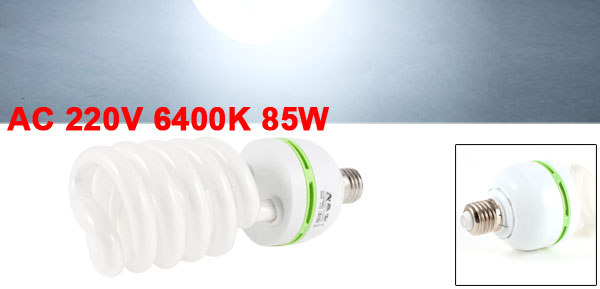 AC 220V 6400K 85W 85Watt E27 Base White Light Photo Studio Spiral Bulb Lamp
