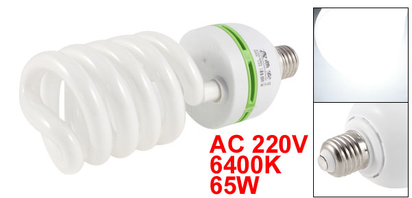 AC 220V 6400K 65W 65Watt E27 Base White Light Photo Studio Spiral Bulb Lamp