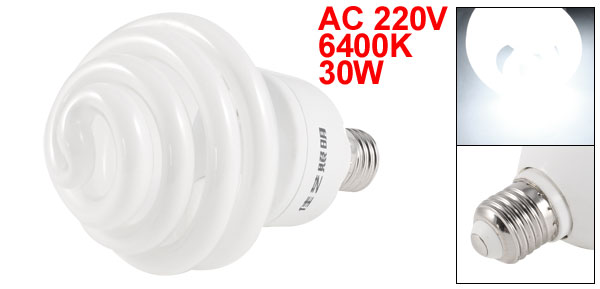 AC 220V 6400K 30W 30Watt E27 Base White Light Photo Studio Spiral Bulb Lamp