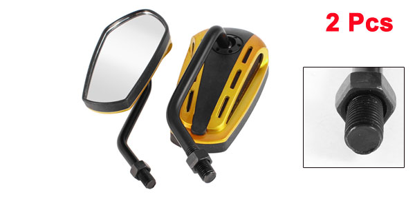 11.5cm x 5.6cm Motorcycle Rear View Mirror Black Yellow 2 Pcs