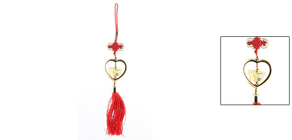 Gold Tone Faux Sycee Pendant Red Chinese Knot Tassel Hanging Decor
