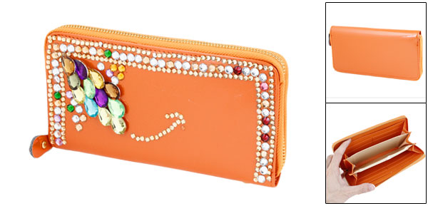 Orange Faux Crystal 6 Pockets Zip Up Wallet Purse Cash Holder for Women
