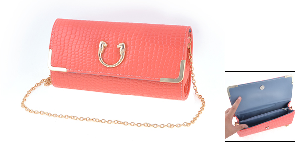 Peach Pink Faux Leather Crocodile Pattern Magnetic Flap Closure Shoulder Bag