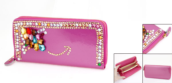Woman Fuchsia Zippered Faux Crystal 6 Compartments Wallet Purse Cards Holder