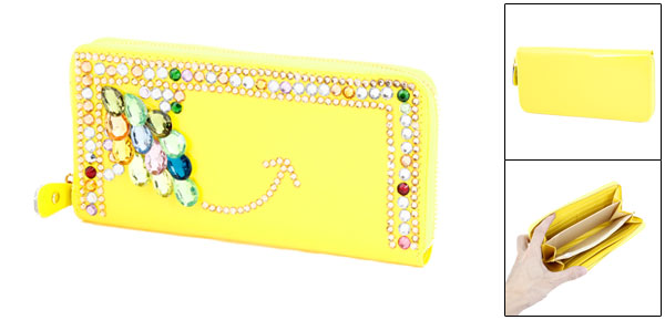 Faux Crystal Decor Zipper Closure 6 Slots Wallet Purse Yellow for Lady
