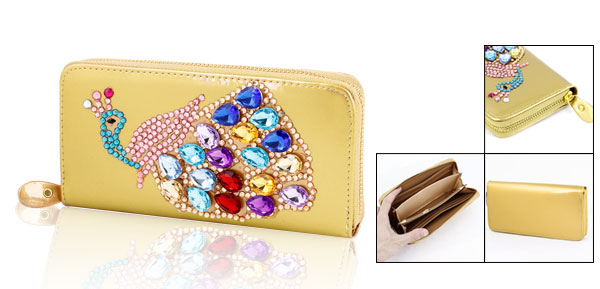 Faux Crystal 6 Pockets Zip up Wallet Purse Cash Holder Gold Tone for Ladies