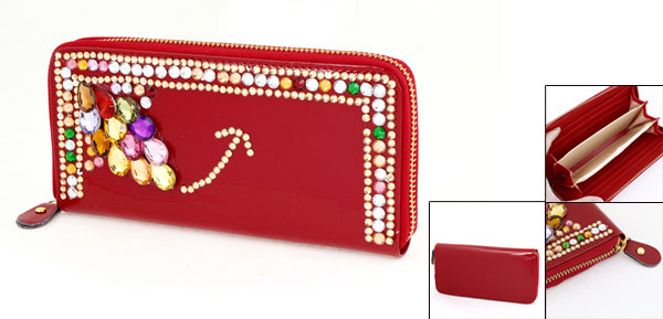 Ladies Red Zippered Faux Crystal 6 Pockets Wallet Purse Cards Holder