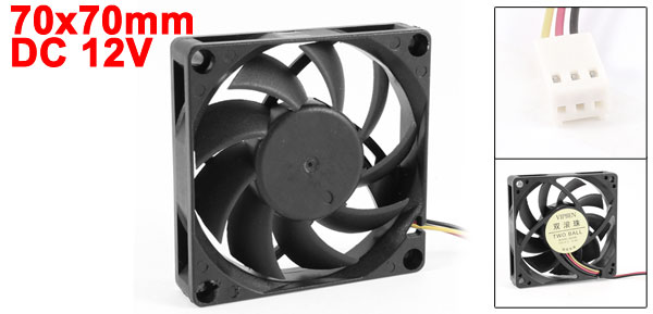 70x70mm Two Ball PC Computer Case CPU Heatsink Cooler Cooling Fan Black 12VDC