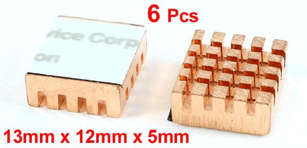 6 Pcs 13mm x 12mm x 5mm Aluminum Heatsink Cooler Heat Cooling Fin