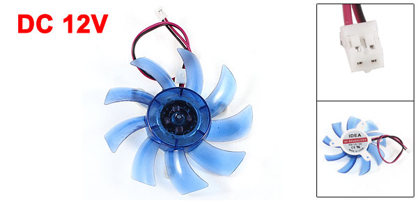 PC Computer VGA Video Card Heatsink Cooler Cooling Fan Blue 75mm 2Pin DC 12V