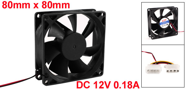 DC 12V 80mm 4Pin PC Computer Case CPU Cooler Cooling Fan Black