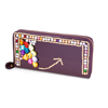 Faux Leather 6 Pockets Zippered Wallet Purse Cash Holder Purple for Women