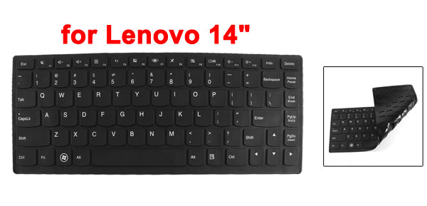 290mm x 112mm Silicone Laptop Keyboard Film Skin Protector Black for Lenovo 14