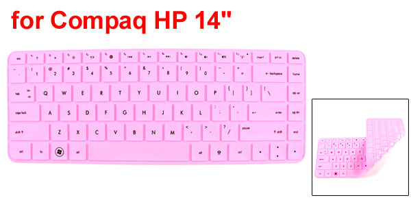 312mm x 112mm Silicone Notebook Keyboard Film Skin Cover Pink for HP Compaq 14