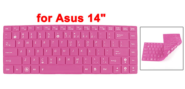 305mm x 113mm Fuchsia Silicone Dustproof Film PC Keypad Keyboard Skin for Asus 14