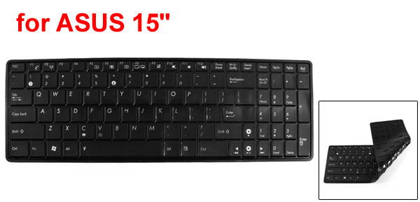 Black Soft Silicone Notebook Keyboard Skin Cover Protector Film for ASUS 15