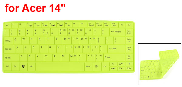 31cm x 12cm Silicone Notebook Keyboard Film Skin Cover Green for Acer 14