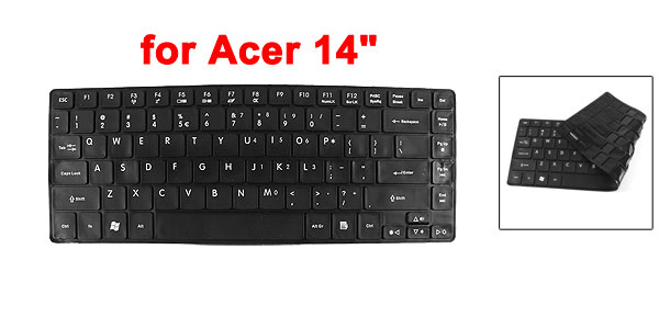 Soft Silicone PC Laptop Keyboard Film Skin Cover Protector Black for Acer 14